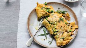 Pea, leek and tarragon omelette
