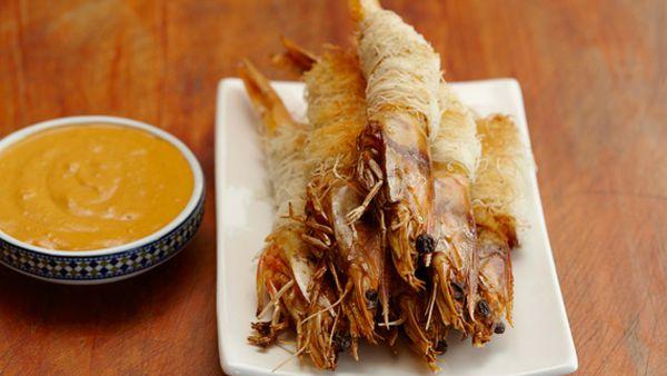 Baked kataifi prawns with muhamara sauce