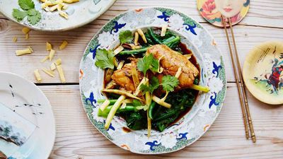"Recipe:&nbsp;<a href=""http://kitchen.nine.com.au/2016/11/29/11/18/barramundi-poached-in-chinese-master-stock-with-greens-and-crunchy-noodles"" target=""_top"">Barramundi poached in Chinese master stock with greens and crunchy noodles</a>"