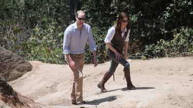 Prince William, Duke of Cambridge and Kate Middleton, Duchess of Cambridge half way on their hike to Paro Taktsang, the Tiger's Nest monastery on April 15, 2016 in Paro, Bhutan
