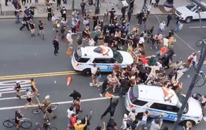 George Floyd: New York Police investigating video of patrol vehicle ploughing into protest crowds