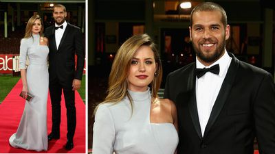 One of AFL's most famous couples, Jesinta Campbell and Buddy Franklin on the Swans red carpet. (Getty)