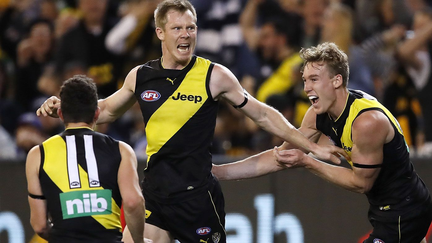 Jack Riewoldt of the Tigers celebrates a goal