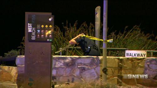 Police were scouring the scene last night.