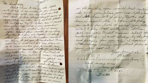 US police department have published photos of the letter in a bid of reuniting it with Ms Betty Miller or her family. (Facebook)