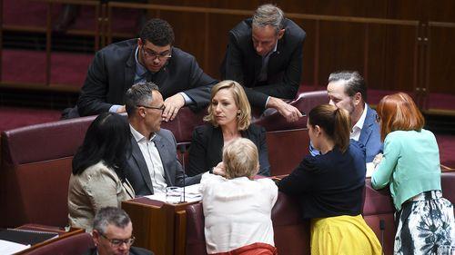 Greens senators discuss the Nauru vote.
