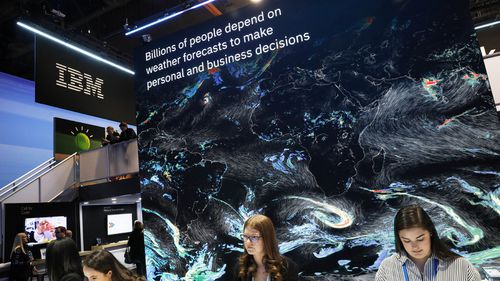 A monitor advertises a new global forecasting system at the IBM booth at CES International.