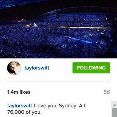 On Saturday, November 28, Taylor performed her biggest concert ever at ANZ Stadium in Sydney.