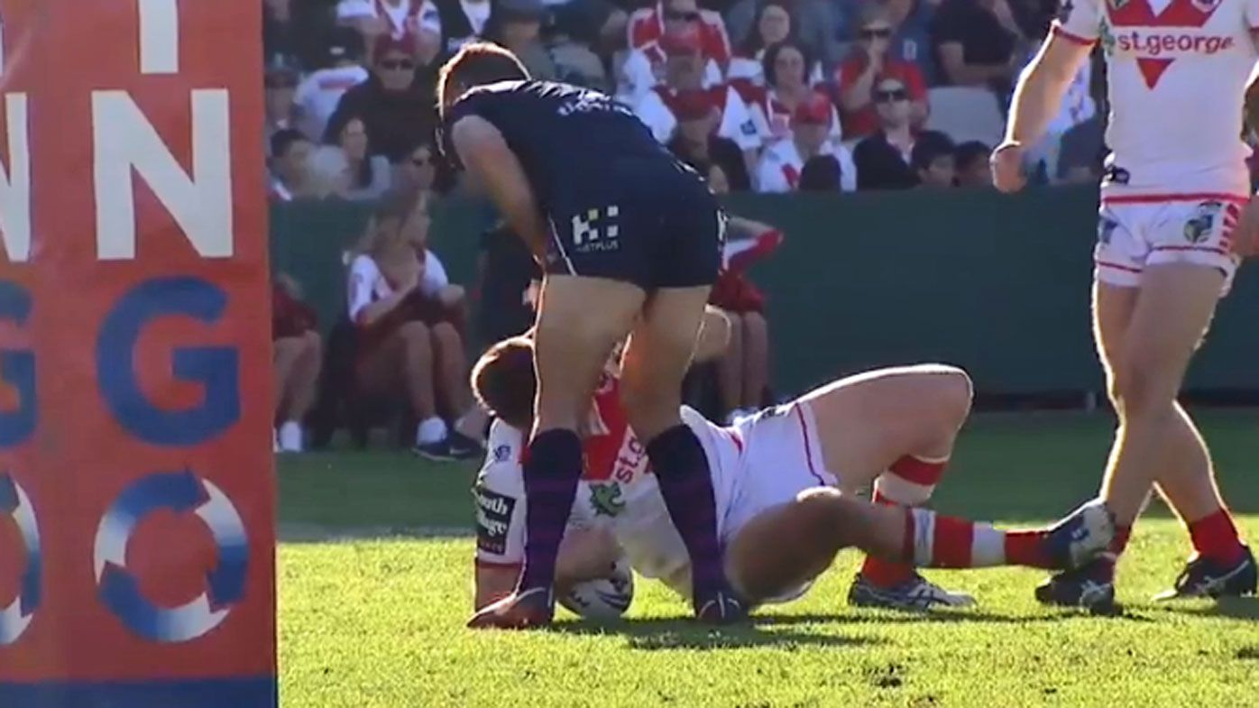 St George Dragons' Jeremy Latimore denies groin punch on Melbourne Storm skipper Cameron Smith
