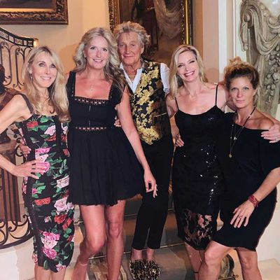 Rod Stewart, Penny Lancaster, Alana Stewart, Kelly Emberg and Rachel Hunter