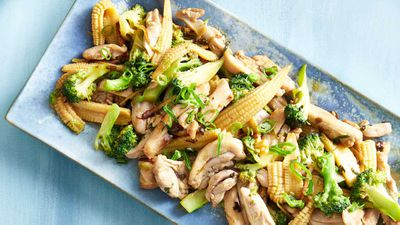 "Recipe: <a href=""http://kitchen.nine.com.au/2017/01/09/12/38/pohs-cantonese-chicken-broccoli-and-ginger-stir-fry"" target=""_top"">Poh's Cantonese chicken, broccoli and ginger stir-fry</a>"
