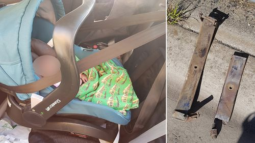 A piece of metal then flings off from beneath the truck's tires, cartwheeling down the freeway towards Ms Butler and her baby. Picture: Facebook/Kahla Euphemia Butler