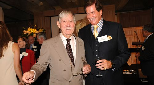 Reg Grundy with John Burgess at the launch of his autobiography in 2010 (AAP)