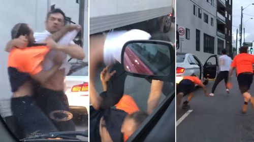 Two men have brawled on a Sydney road.