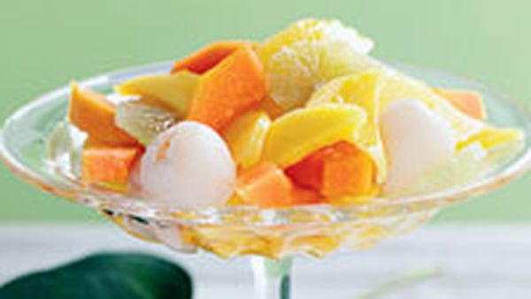 Tropical fruit salad with lime syrup