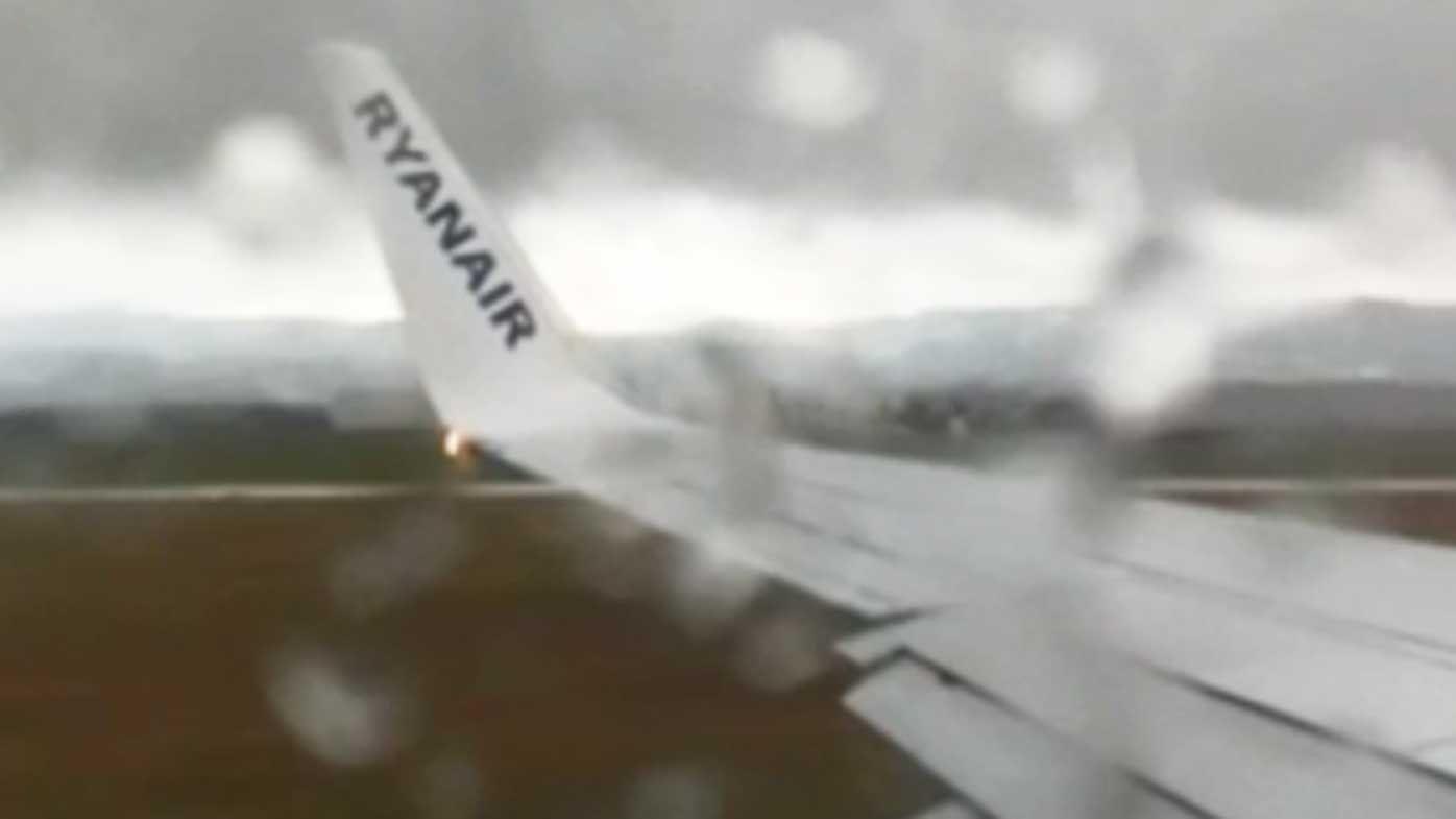 Plane getting struck by lightning