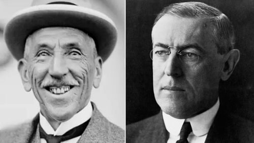 Australian Prime Minister Billy Hughes, left, clashed with US President Woodrow Wilson at the Versailles peace talks.