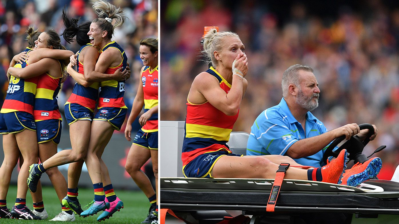 Adelaide beat Carlton to win AFLW grand final, Erin Phillips given standing ovation after being carted off with ACL injury