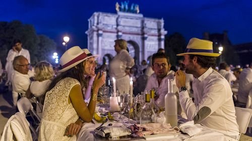 Diner en Blanc has previous taken place at Champs-Elysees, below the Eiffle Tower and the Chateau de Versailles. (AFP)