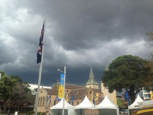 The storm moves over Parramatta. (9NEWS)