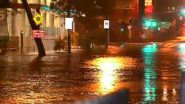 Brisbane has been hit by a powerful rainstorm overnight, with more than 100 millimteres falling in the space of an hour.