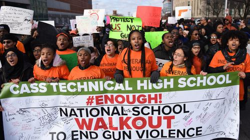 Students in 3000 schools across the United States participated in a mass walkout to call for changes to gun laws in light of recent school shootings (AAP).
