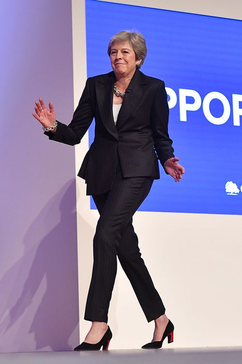 Unconventional moves on show as the British Prime Minister, Theresa May, arrives to make a key speech.