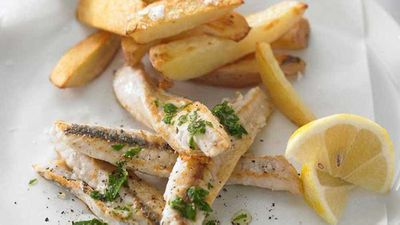 "Recipe: <a href=""http://kitchen.nine.com.au/2016/05/19/14/02/fish-and-chips"" target=""_top"">Fish and chips with low-fat tartare sauce</a>"