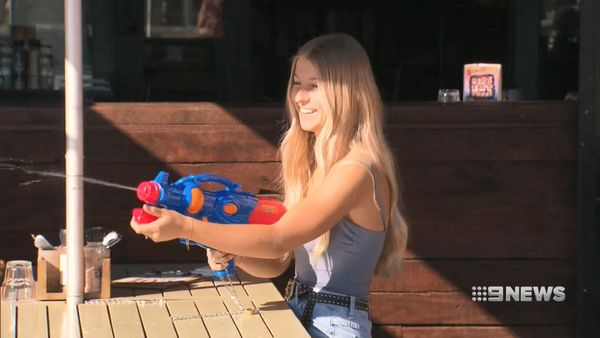 Restaurant customers use water guns to fight off seagulls