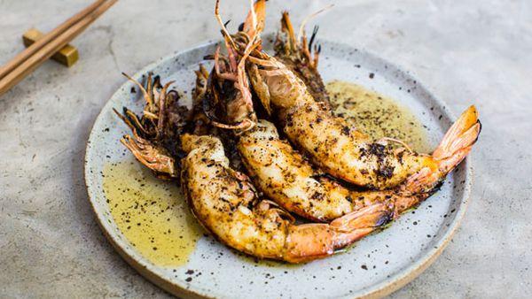 Grilled king prawns, kombu butter
