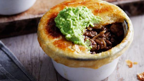 Little beef and onion pot pies with mushy peas
