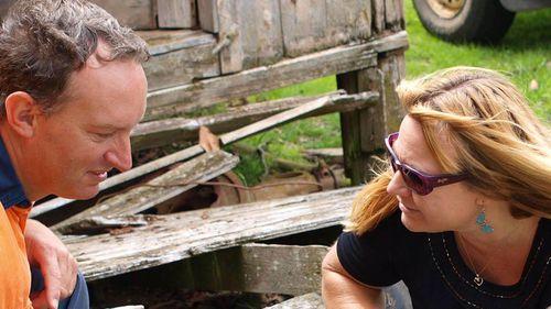 """Mathew Dunbar and Natasha Darcy on Mr Dunbar's property """"Pandora""""."""
