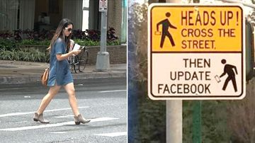 Pedestrians caught texting while using a road crossing could be slapped with fines of up to $650. (9NEWS)