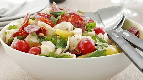 Warm salami and tomato pasta salad