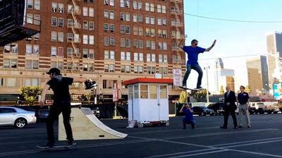 Tony Hawk uses a stunt harness and wires in a viral hoverboard hoax (YouTube)