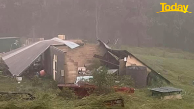 Ms Donnelly's shed has been completely flattened by the storms currently tearing through NSW.