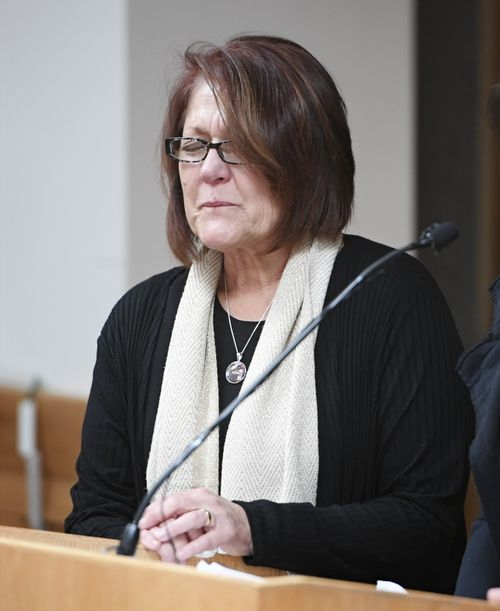 Cindy Watts gets emotional after addressing the court during her son's sentencing.