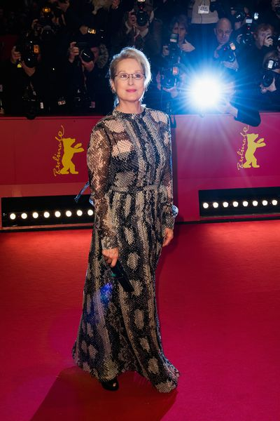 Meryl Streep atthe 66th Berlinale International Film Festival Berlin at Berlinale Palace on February 11, 2016 in Berlin wearing Prada.