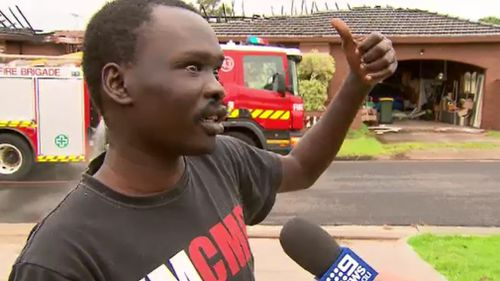 Dhieu Manoah helped rescue the screaming woman from her burning home. (9NEWS)