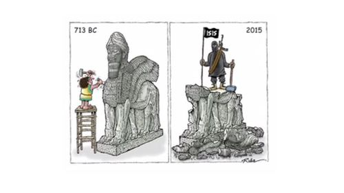 Some entries focused on ISIL's destruction of religious idols. (Resitart.ir)