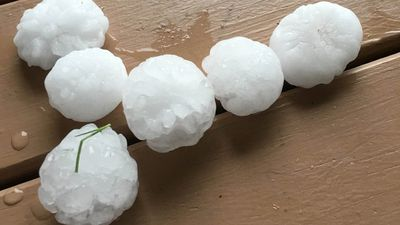 Hail hit the Logan area at around 5pm local time. (Supplied, name withheld)