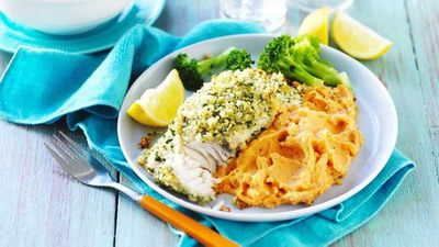 "Recipe: <a href=""http://kitchen.nine.com.au/2017/05/26/15/04/lemon-and-herb-fish-with-sweet-potato-mash"" target=""_top"">Lemon and herb fish with sweet potato mash</a>"