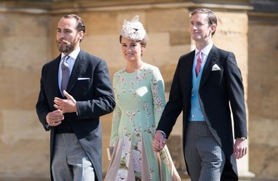 James Middleton, Pippa Middleton and James Matthews attend the wedding of Harry and Meghan in 2018 in Windsor.