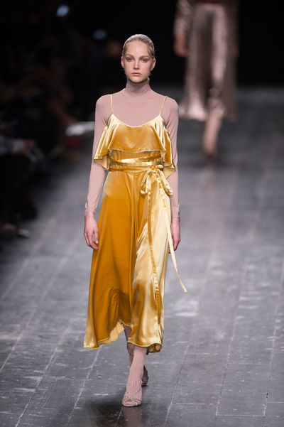 It's a fabric that has inspired everything from cinema (David Lynch's Blue Velvet) to rock and roll (The Velvet Underground) to children's fables (The Velveteen Rabbit); There's just something about this opulent, sensual material and for AW16, designers were certainly under its spell. Whether realised in a rich, canary slip dress as seen at Valentino, a grungy gold pair at Vetements (sure to be as popular this season as the brand's reworked jeans of last) or even as a luxurious take on Stella McCartney's burnt caramel puffa vest, be prepared for this tactile fabric to give you all kinds of fashion feels.