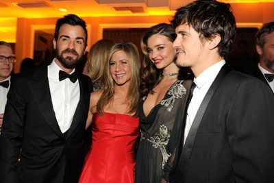 'Mirando' became a staple on the A-list party scene. Their celeb pals include Jennifer Aniston, Jason Statham and Victoria's Secret supermodel Lily Aldridge. Here they are posing with Jen and her fiance Justin Theroux at a 2013 Oscars after-party.