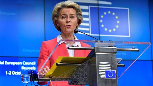 European Commission President Ursula von der Leyen speaks during a press conference at an EU summit in Brussels, Friday, October 2, 2020