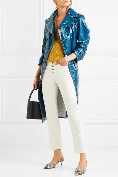 "<a href=""https://www.net-a-porter.com/au/en/product/1006163/sonia_rykiel/belted-crinkled-vinyl-trench-coat"" target=""_blank"" draggable=""false"">Sonia Rykiel Belted Crinkled- Vinyl Trench Coat, $1,674</a>"