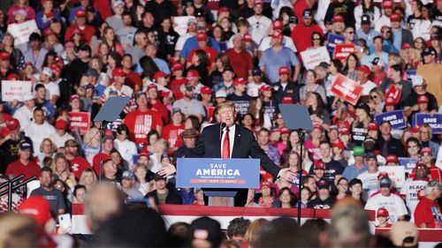 Donald Trump at a political rally in Des Moines, Iowa. The former president holds enormous sway in his party.