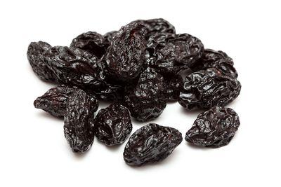 Prunes (dried plums): 38.1g sugar per 100g