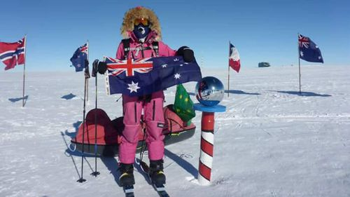 Jade Hameister at the South Pole. Photo: Facebook